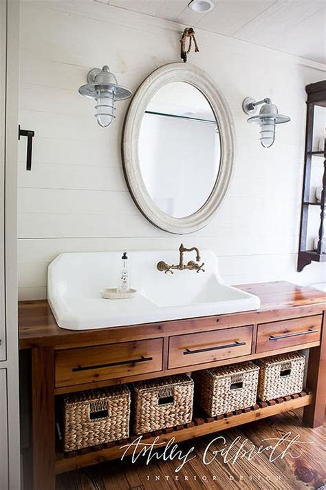 kids bathroom  console table turned sink vanity