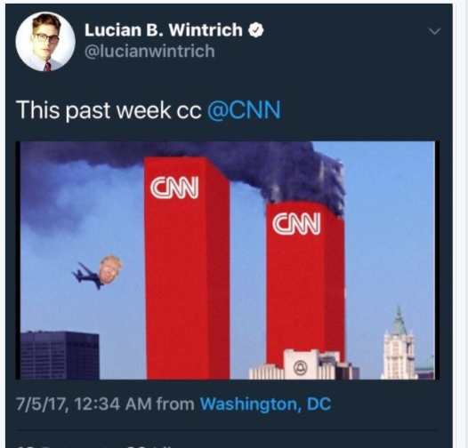 Why did an alt-right journalist post a cartoon of Trump as a 9/11 hijacked plane?