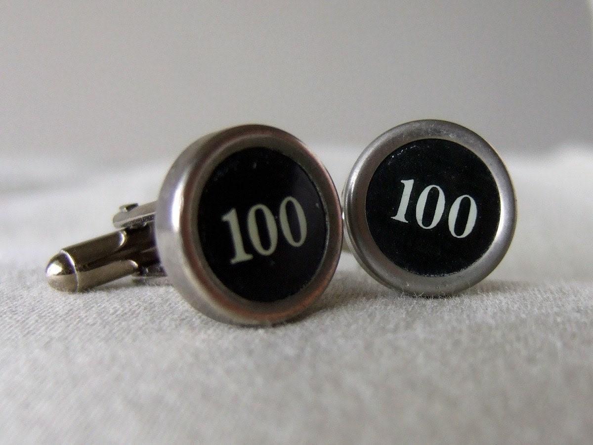100 - Black or White Vintage Typewriter Key Cufflinks - Rare Keys