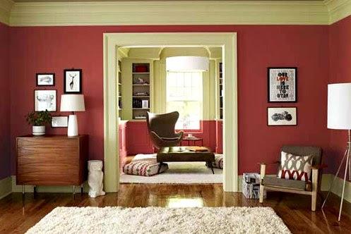 Perpaduan warna cat rumah bagian dalam merah hati Desain