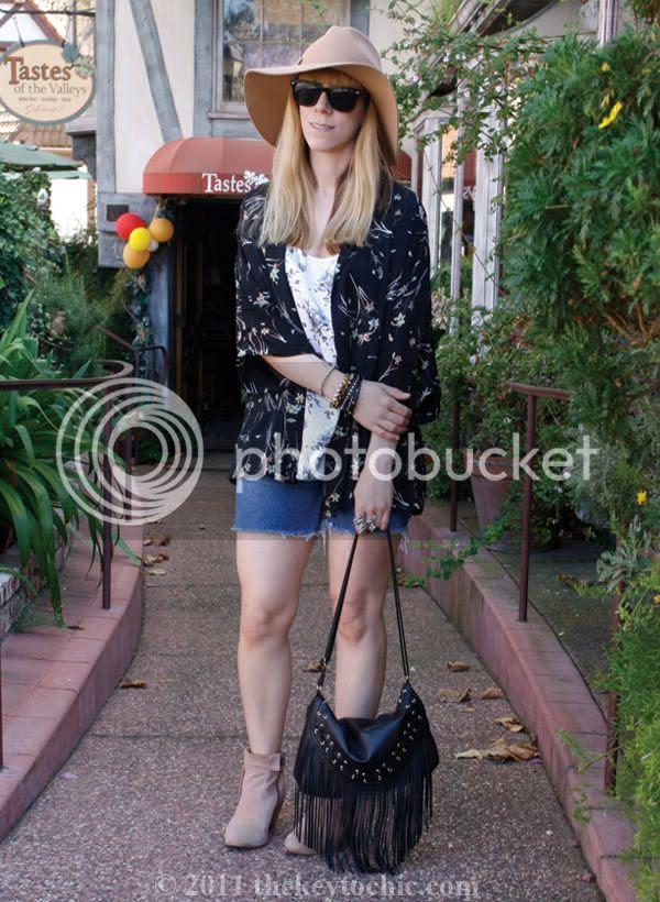Forever 21 kimono cardigan, H&M fringe handbag, Sam Edelman Louie boots, southern California fashion blog