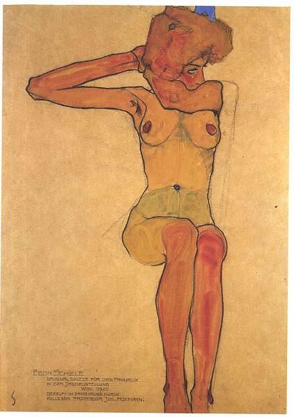 File:Schiele - Sitzender weiblicher Akt mit abgespreitzten rechten Arm - 1910.jpg