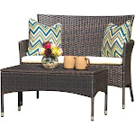 Noble House 2-Pc Chat Outdoor Set in Multi-Brown