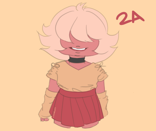 Anonymous said: Padparascha Sapphire in 2A! Answer: Pap in 2A! 18/180 ah she's super cute!! Send me an ask about either an SU character or my OC's and I will draw them in one of these outfits! I'll be...