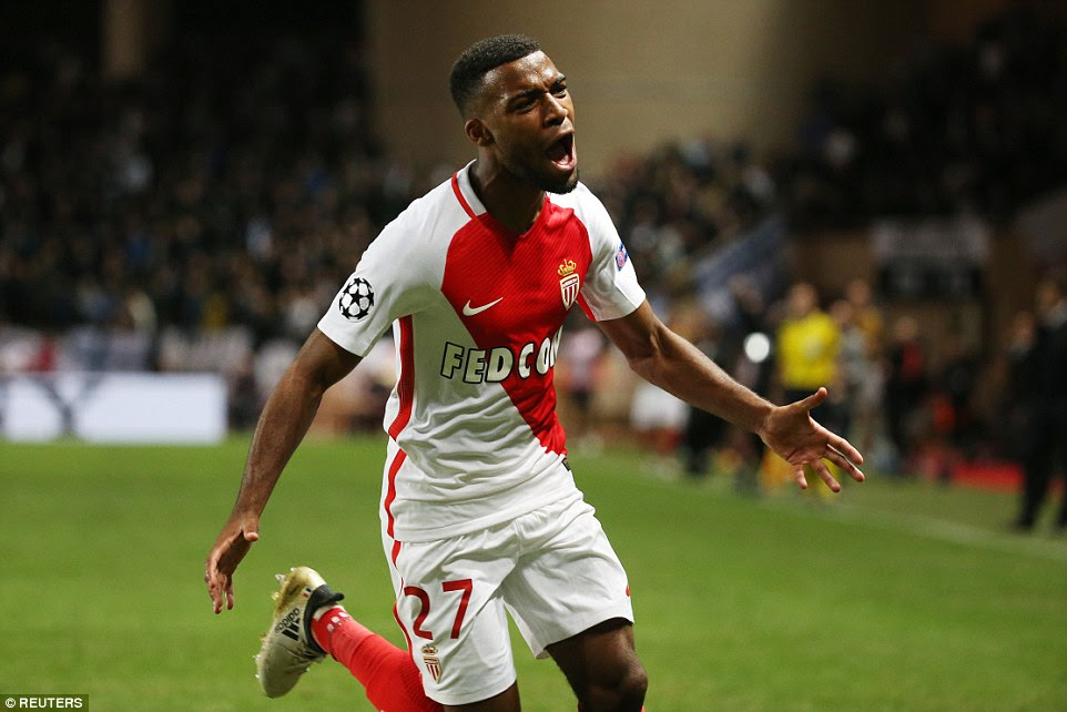 Thomas Lemar celebrates after putting Monaco back in front against Tottenham in their Champions League group match