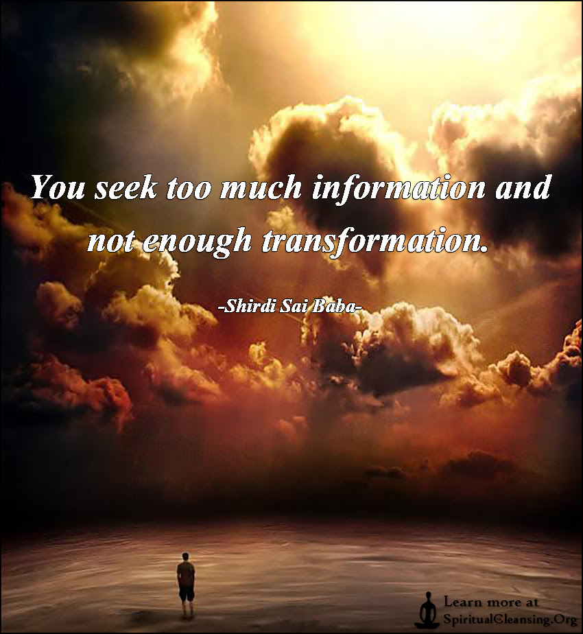 You Seek Too Much Information And Not Enough Transformation