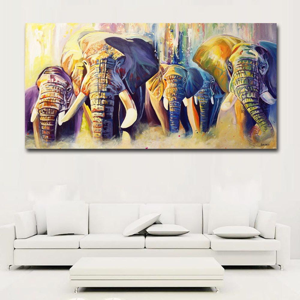 Colorful Abstract Art Elephants Competition Paintings Prints Posters C Discount Canvas Print