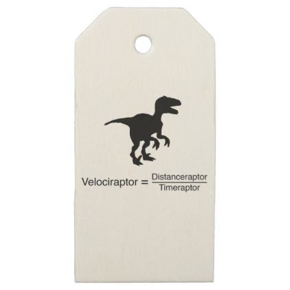 velociraptor funny science wooden gift tags