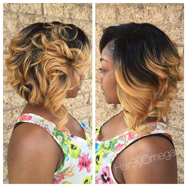 Medium Dark To Blonde Ombre Messy Bob Hairstyle For Black Women 1