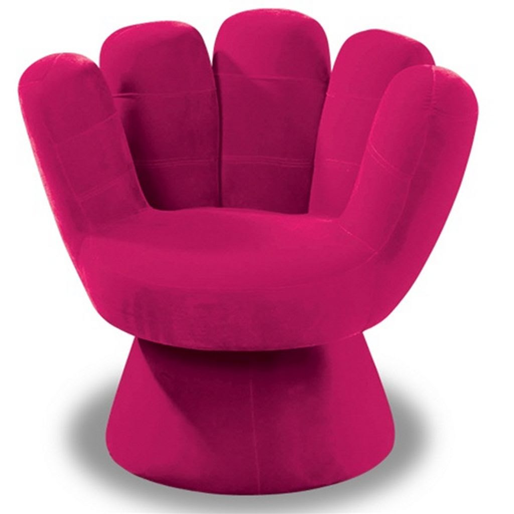 Pink Hand Shape Of Comfy Chairs For Bedroom