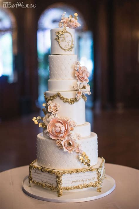 Fairytale wedding cake, storybook quote cake, gold and