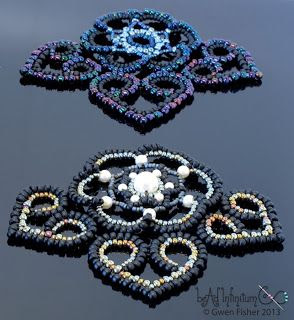 gwenbeads: Tutorial Beaded Lace Hearts Part 6 of the Beaded Lace Adventure
