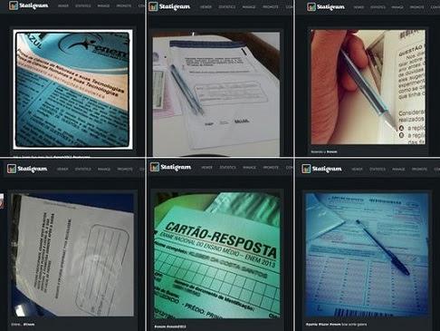Fotos postadas no Instagram do caderno de provas do Enem (reprodução)