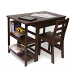 Lipper International 584WN New Childs Work Station and Chair Walnut