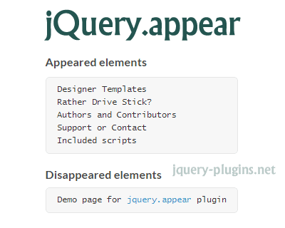 jQuery.appear – jQuery Plugin for Tracking Element's Appearance