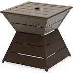 Outdoor Coral Coast Walton Steel Geometric Slatted Umbrella Side Table