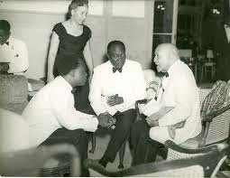 First Republic of Ghana President Kwame Nkrumah confers with Dr. W.E.B. DuBois of the United States who was in the West African state to commemorate Republic Day in July 1960. DuBois would later take up Ghanaian citizenship. by Pan-African News Wire File Photos
