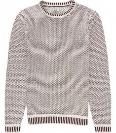 Reiss Queens Contrast Weave Jumper Berry