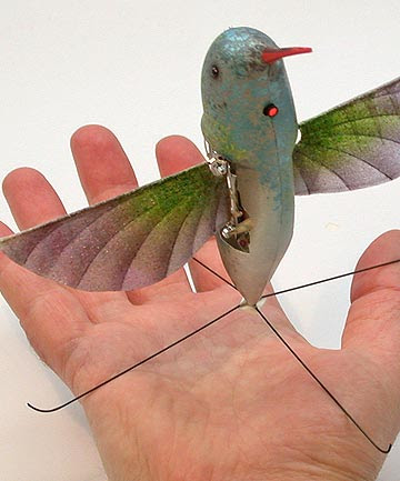 A life-size Hummingbird-like unmanned aircraft, named Nano Hummingbird, developed by AeroVironment Inc., for the Defense Advanced Research Projects Agency (DARPA).