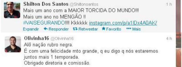 Shilton e Olivinha renovaram seus contratos com o Flamengo (Foto: Reprodução/Twitter)