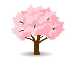 フリー素材 満開の桜の木のイラストアイコンシンプルで使いやすい