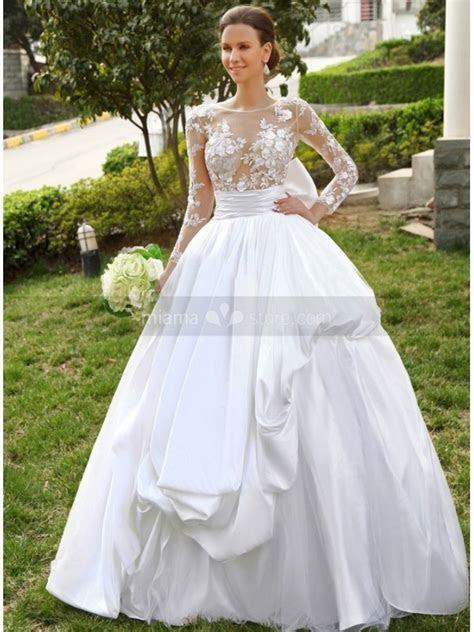 A line Ball gown Empire waist Floor length Satin Lace High
