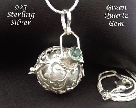 Sterling Silver Harmony Ball with Green Quartz Gem & Silver