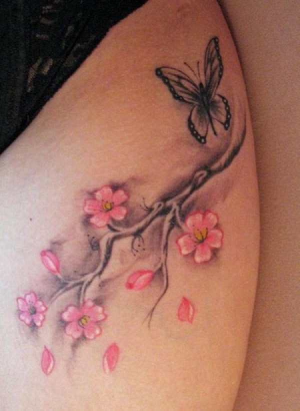 Small Butterfly And Cherry Blossom Tattoo