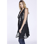 Embroidered Faux Leather Floral Vest