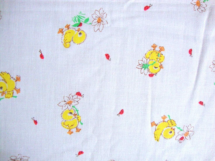 Vintage 80s Cute Little Chick Fabric Yellow Baby Chicks Lady Bugs Daisy Flowers on White Cotton Blend CBF. $16.00, via Etsy.