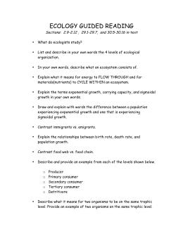 30 Chapter 2 Principles Of Ecology Worksheet - Worksheet ...