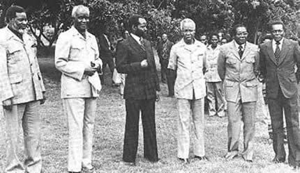 Sam Nujomo of SWAPO, Pres. Kenneth Kuanda of Zambia, Pres. Samora Machel, Mozambique, Pres. Julius Nyerere, Pres. Robert Mugabe and Pres. Jose Eduardo dos Santos of Angola. by Pan-African News Wire File Photos