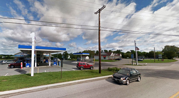 The witness had just left Snow's Corner Gas Station in Orrington, pictured, when the object was noticed '100 to 200 yards from my turn off to the right, just before the Orrington-Brewer town-line.' (Credit: Google Maps)