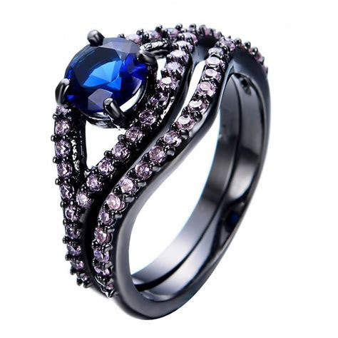Charming Blue Sapphire Jewelry Pink Crystal Rings Eye Type