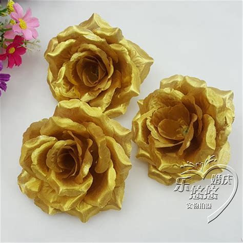 Wholesale 100Pcs/Lot Gold Roses Artificial Silk Flower