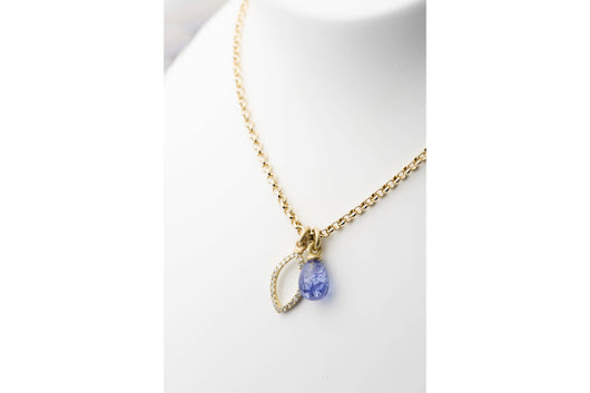 Tanzanite Briolette and Diamond Pendant