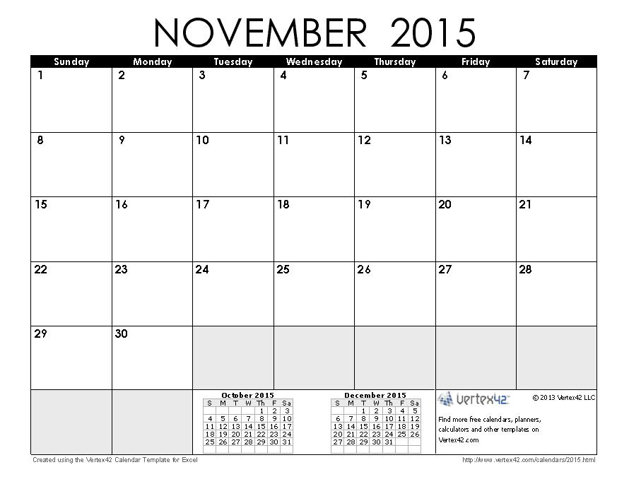 Mapsingen November 2015 Calendar