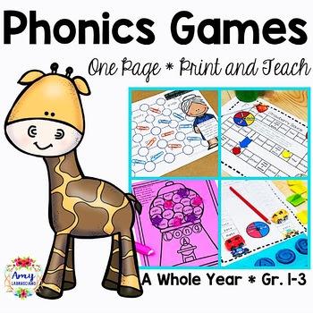 Phonics Games: oo, ir, er, ur, ow, ou, igh, i, ind, oi, aw