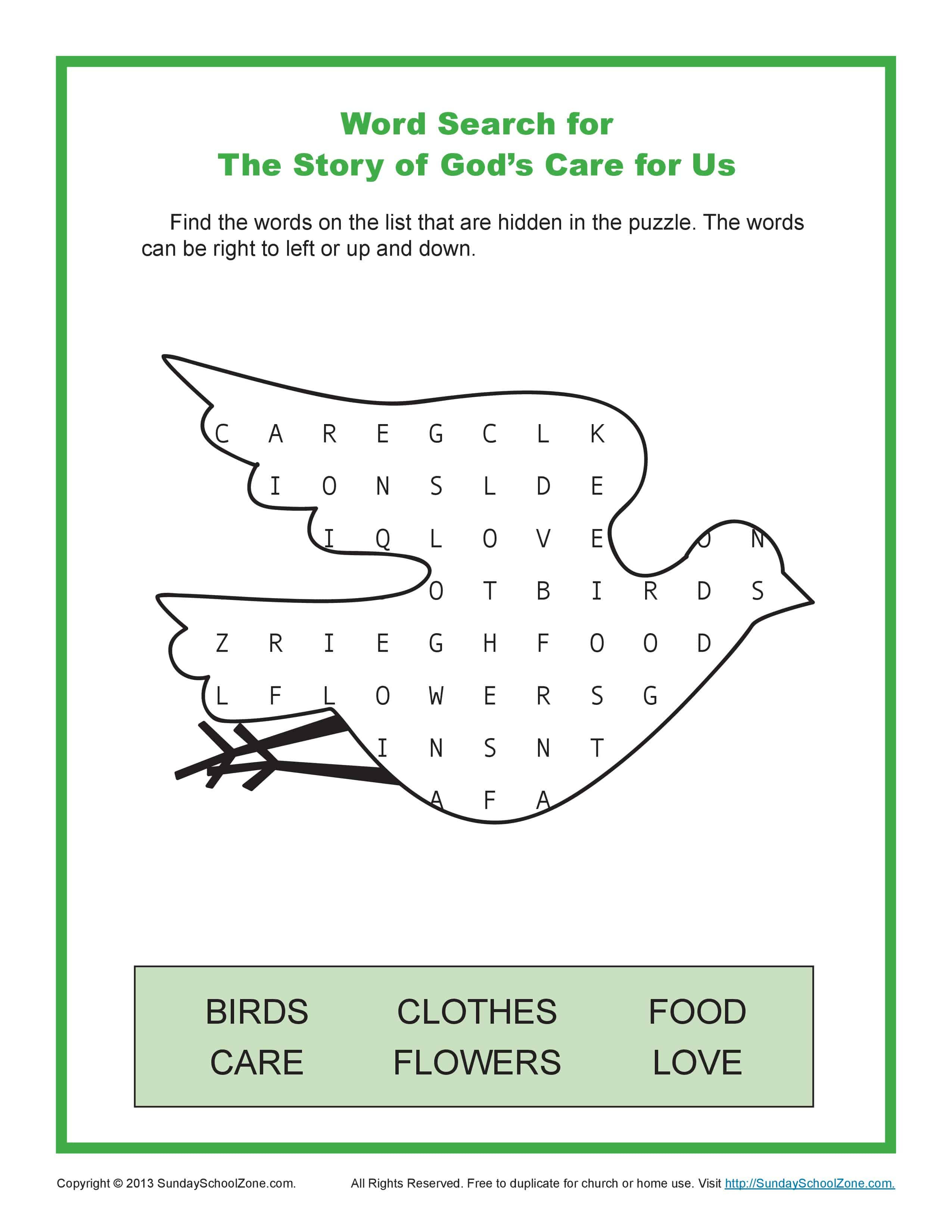 word search the story of gods care for us 1 page 0