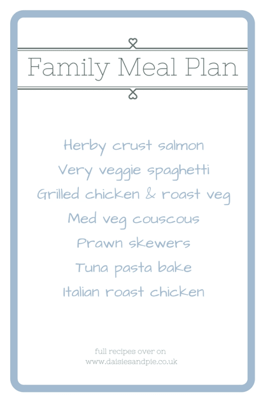 Family meal plan 13th February 2017