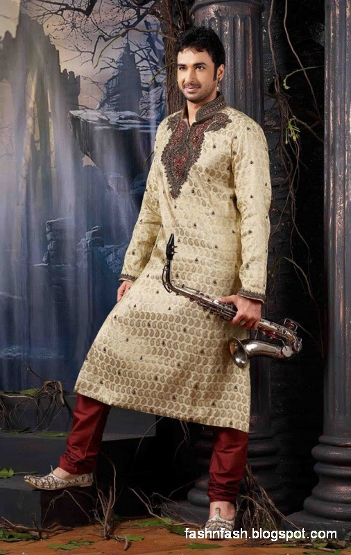 Kurtas Designs-Men-Male New Latest Silk-Cotton Kurta Style Design Collection6