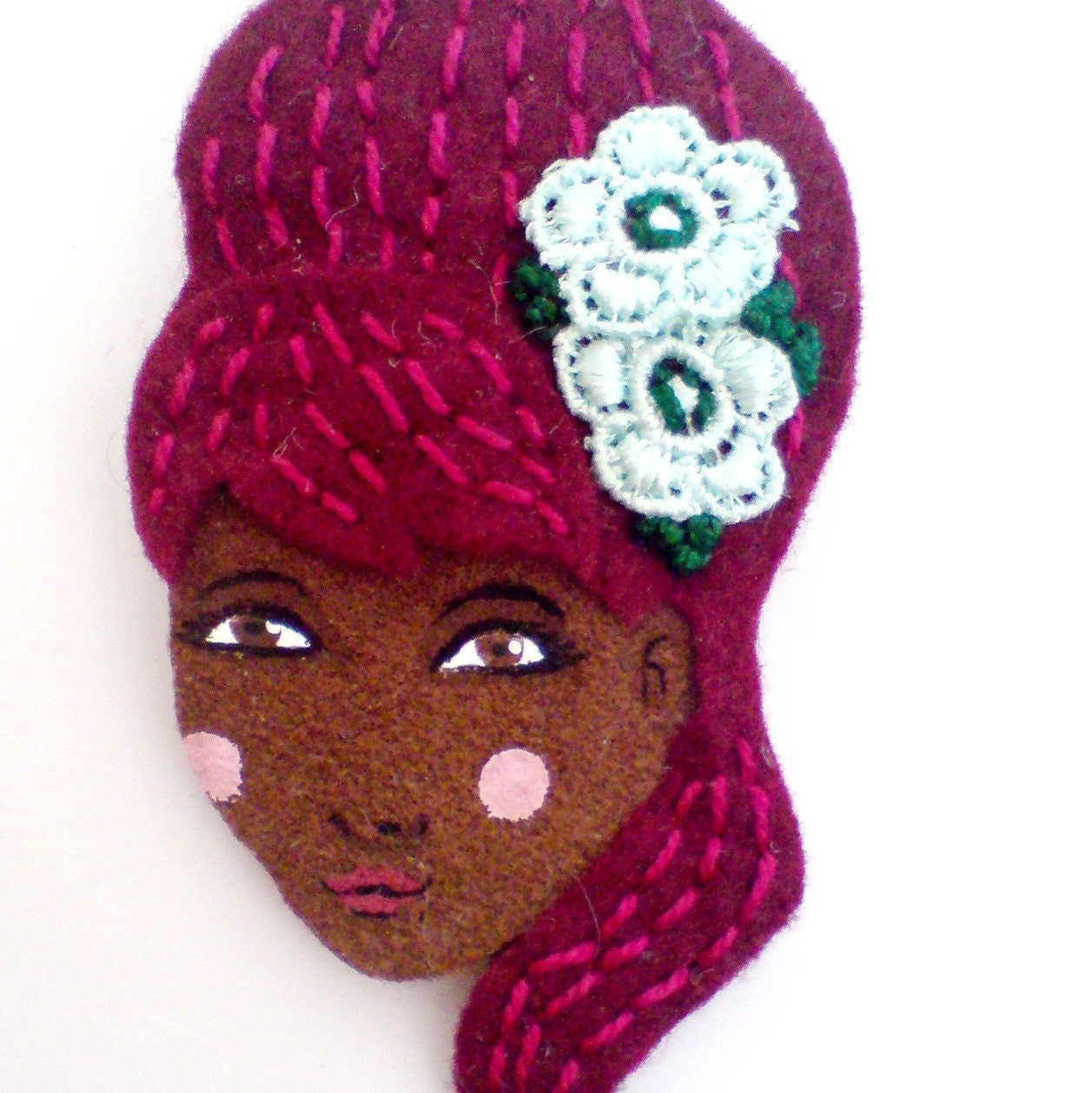 Embroidered felt brooch - Brieana, 1960a inspired, b52, burgundy, mint, woman face