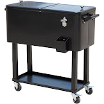 Outsunny 80 QT Rolling Ice Chest Portable Patio Party Drink Cooler