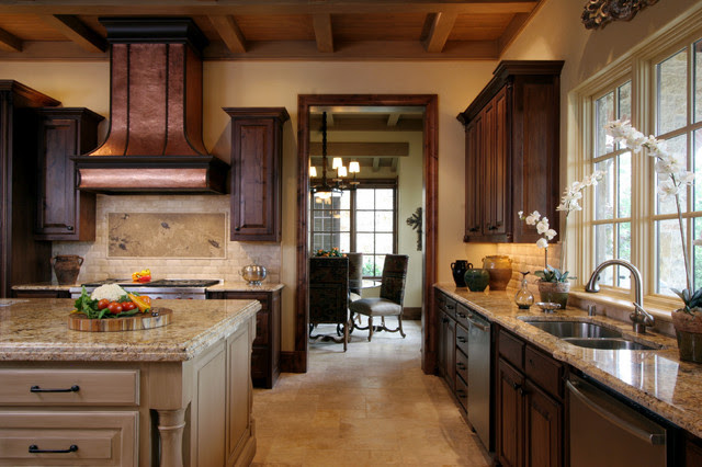 Natural Tuscan Inspired Kitchen - View to Breakfast Room