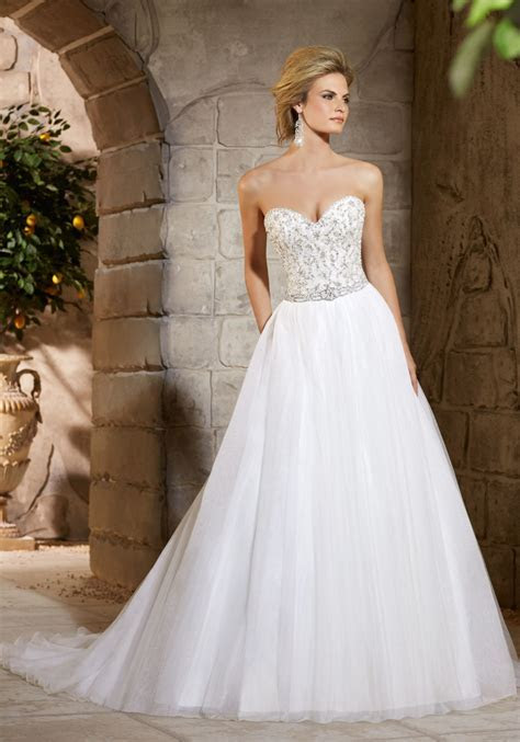 Crystal Lace Bodice on Net Skirt Wedding Dress   Style
