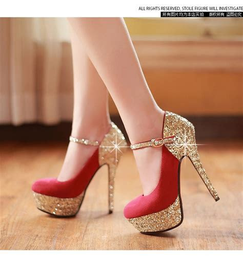 Women's wedding shoes red bottom high heels platform gold
