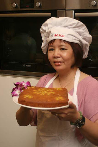 Susan with her banana cake