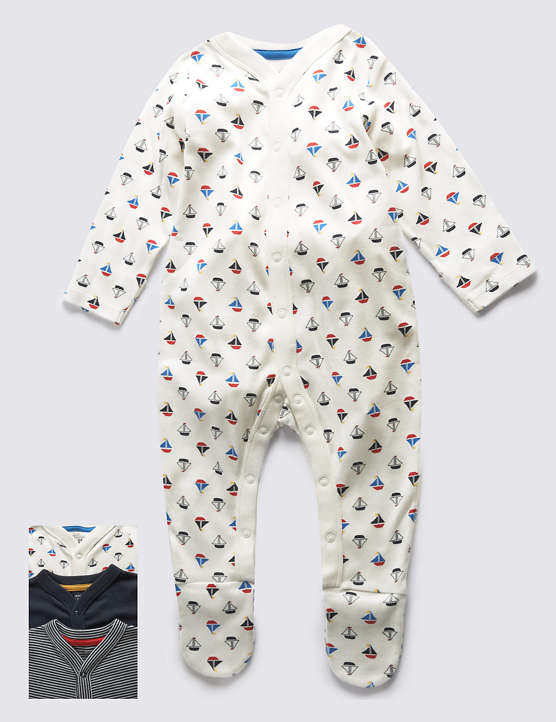 3 Pack Boys' Nautical Sleepsuits