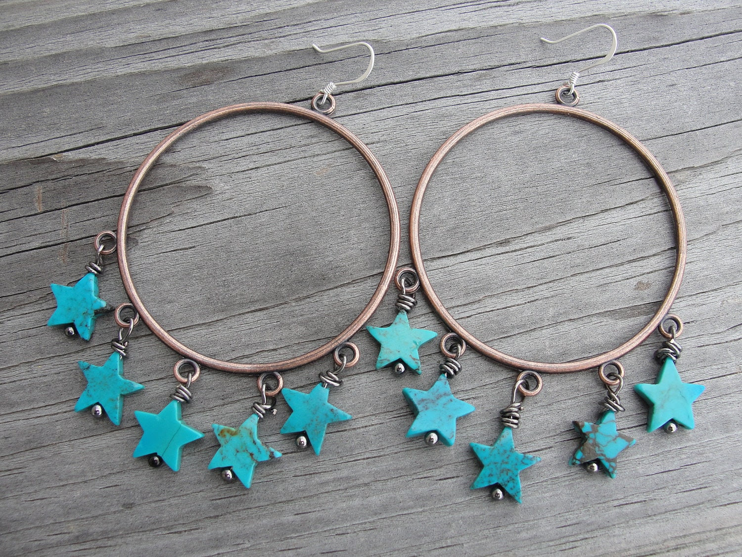 Turquoise Stars Copper Hoop Earrings