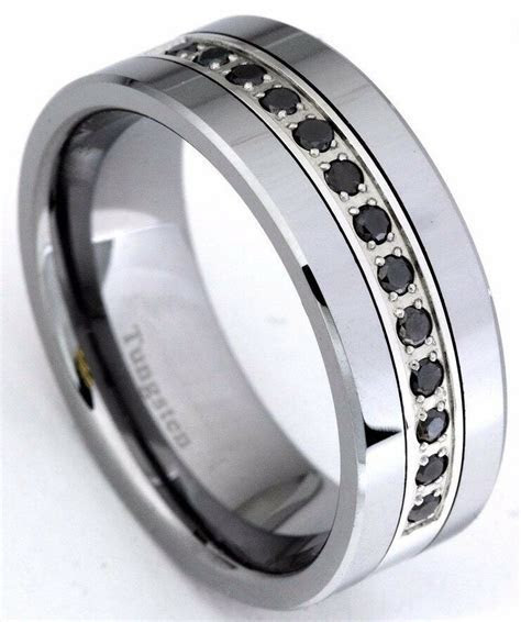 Black Diamond Tungsten Carbide Wedding Band Ring 8mm 0.25